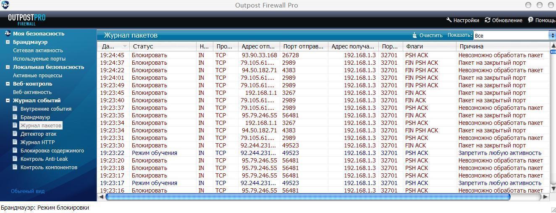 Небольшой обзор Outpost Firewall Pro