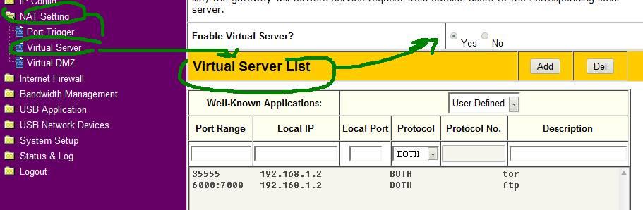 virtual server nat