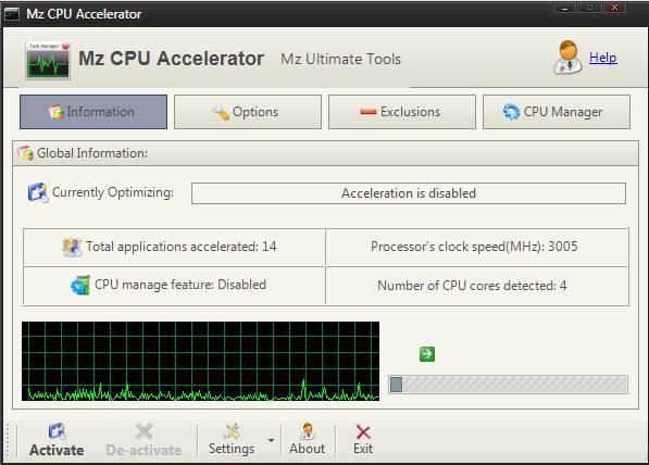 Mz CPU Accelerator - как ускорить компьютер и процессор - скриншот 1