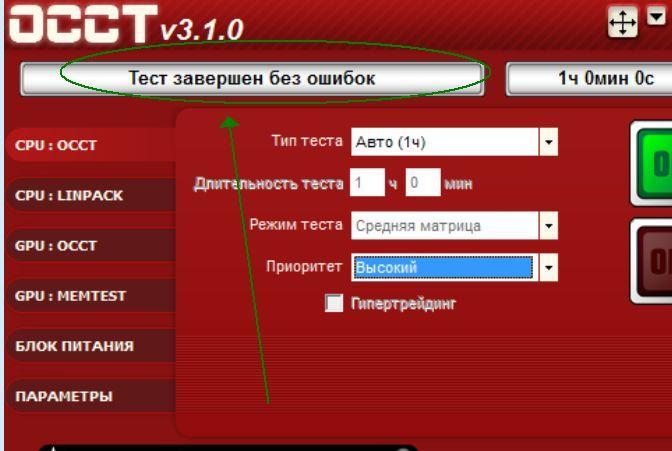 OCCT тест стабильности процессора результаты