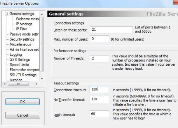 установка и настройка FTP FileZilla Server - скриншот 7 -, вкладка General Settings