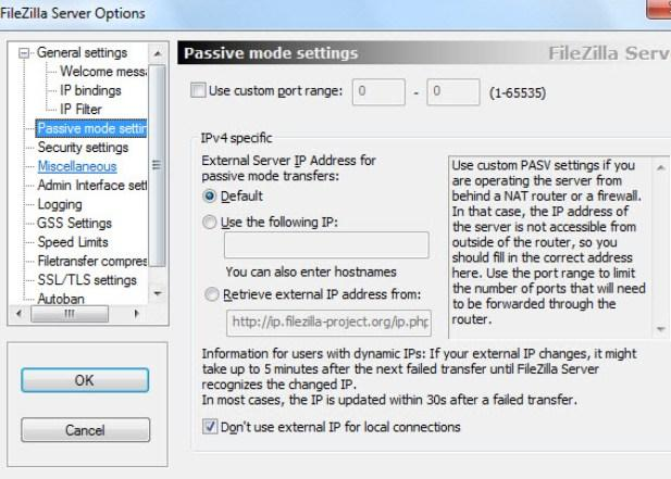 установка и настройка FTP FileZilla Server - скриншот 11 - вкладка Passive mode settings