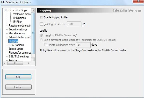 установка и настройка FTP FileZilla Server - скриншот 14 - вкладка Logging