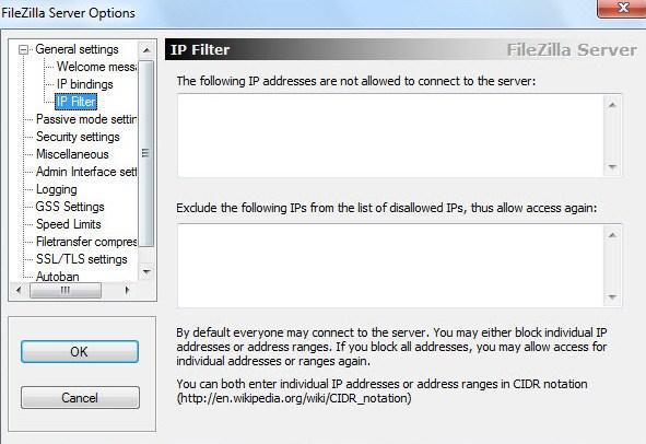 установка и настройка FTP FileZilla Server - скриншот 10 - вкладка IP Filter