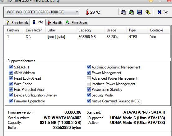 HD Tune информация о диске