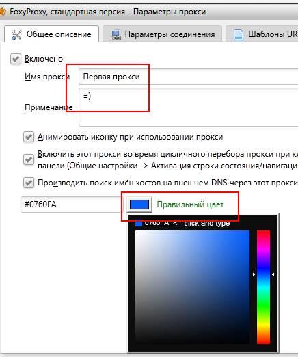 foxyproxy настройка, параметры прокси