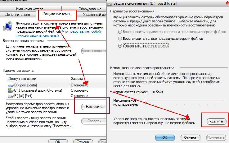 точки восстановления Windows и куда пропадает место - скриншот 2