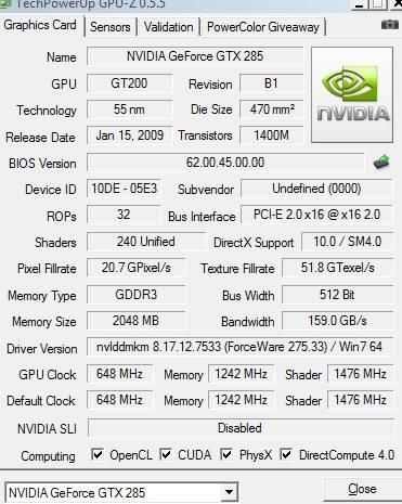 как выбрать видеокартуGTX 285 GPU-z