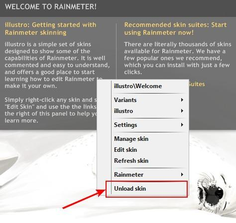 настройка rainmeter, скриншот