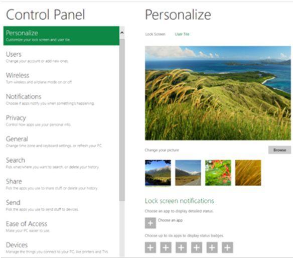 панель управления, windows8