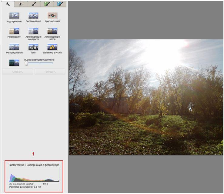 Picasa - режим просмотра для фотографов, Exif