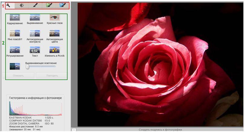 Picasa - Обработка изображения