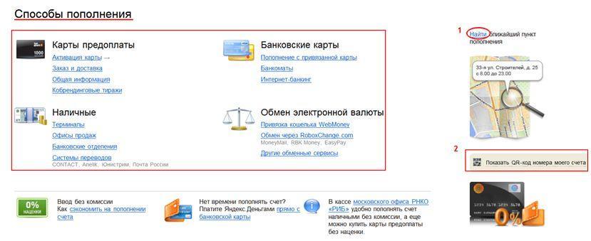 Яндекс Деньги - варианты пополнения счета