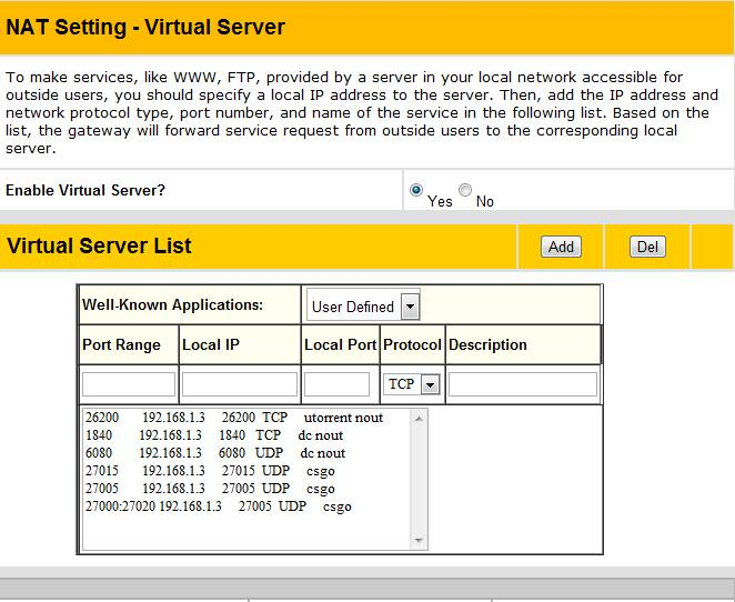Virtual Server. Port Forwarding