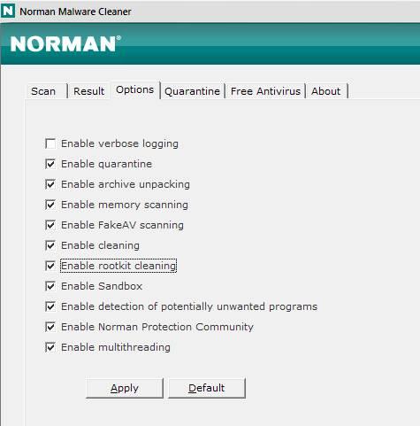Norman Malware Cleaner - скриншот 2 - настройка вариантов сканирования