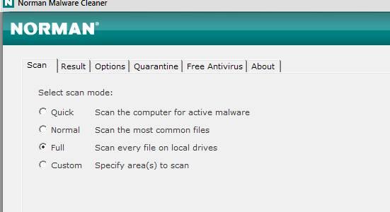 Norman Malware Cleaner - скриншот 3 - тип проверки - быстрый, нормальный, полный и пр
