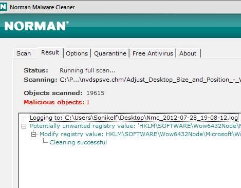 Norman Malware Cleaner - скриншот 4 - логи и результаты проверки