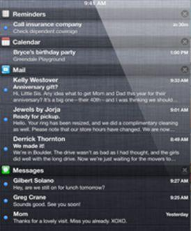iOS 5, Экран уведомлений