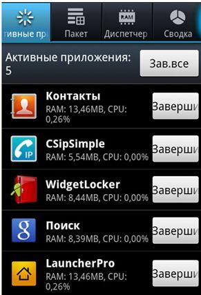 Недавние приложения Android 4
