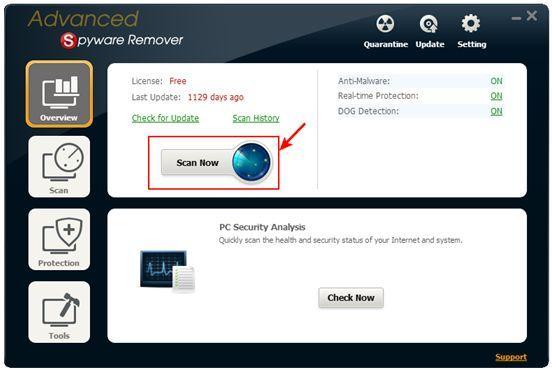 Advanced Spyware Remover, главное окно