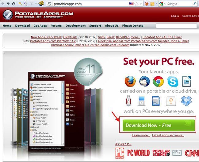 PortableApps, главная страница проекта