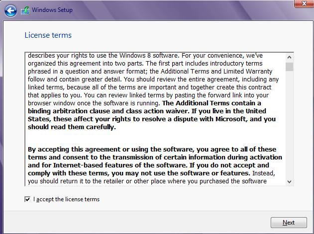 установка windows 8 - лицензия
