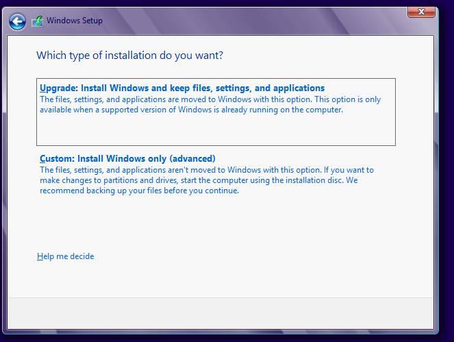 установка windows 8 - установка или обновление