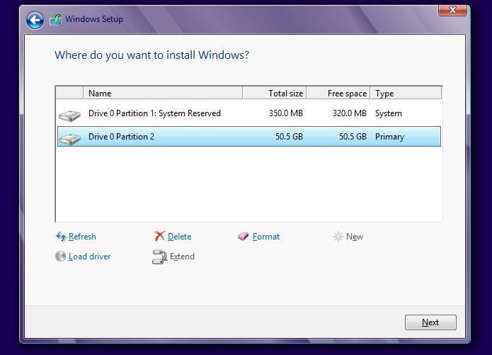 установка windows 8 - создание разделов