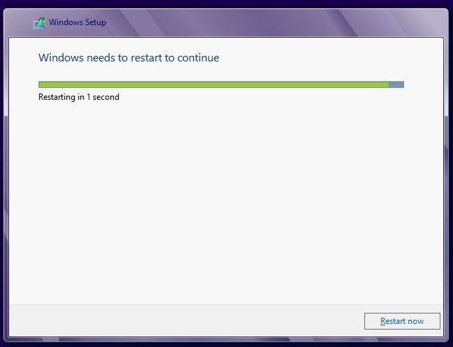 установка windows 8 - перезагрузка