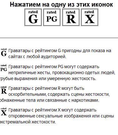 gravatar - выбор рейтинга аватарки