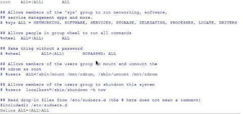 Открытие файла sudoers linux