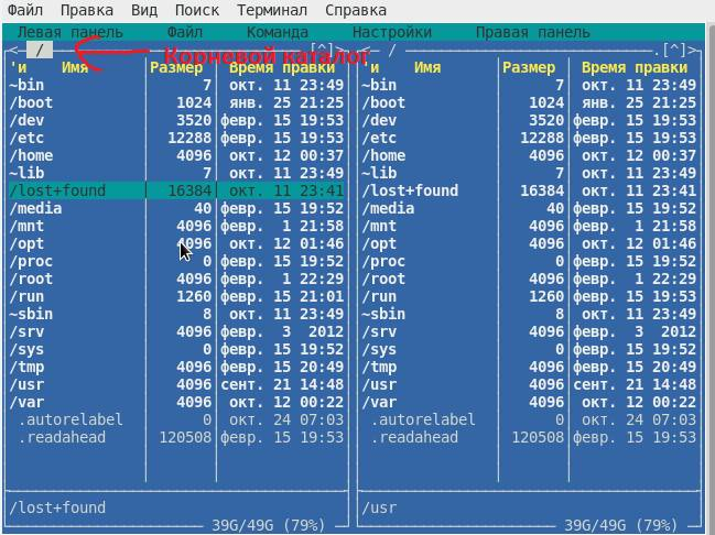 Каталоги файловой системы linux