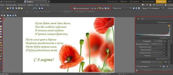 Zoner Photo, модуль редактор