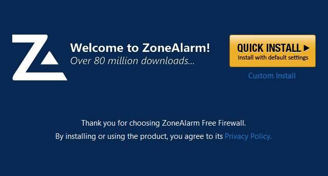 zone alarm установка