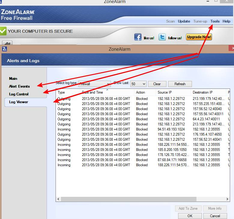 zone alarm фаерволл защита от хакеров логи