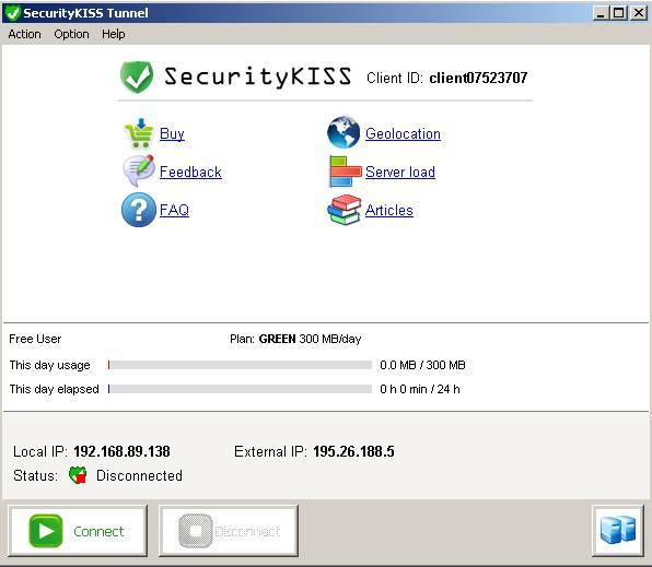 Интерфейс SecurityKISS