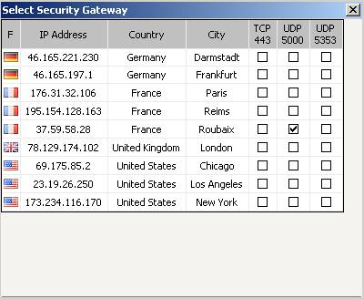 Список серверов SecurityKISS