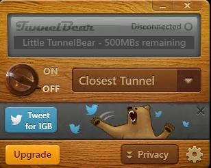 Интерфейс TunnelBear