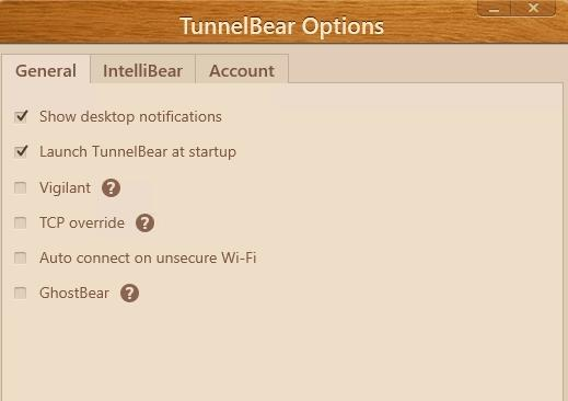 Settings TunnelBear