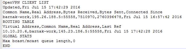 Пример вывода файла openvpn-status.log