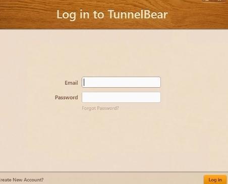 Окно входа в TunnelBear