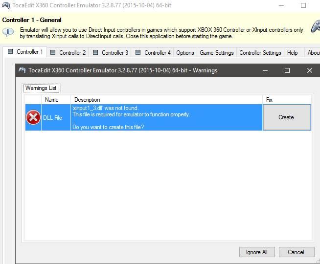 Xbox 360 Controller Emulator - первый запуск, dll file xinput1_3.dll not found
