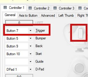 Xbox 360 Controller Emulator назначение правого курка джойстика