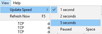 TCPView - скорость обновления списка сетевой активности