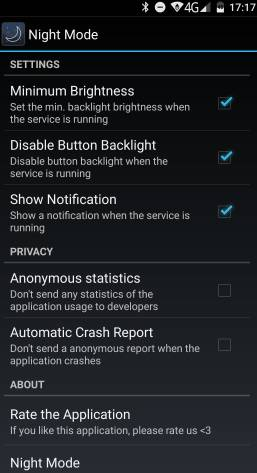 night mode - снижение уровня яркости экрана на Android - скриншот 2