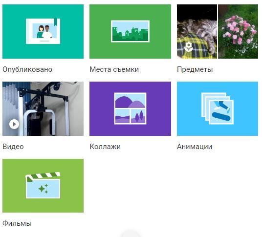 Google Фото - альбомы, места съемки, анимации, видео, колладжи