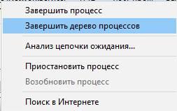 монитор ресурсов Windows - завершение процессов