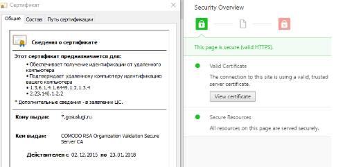 Сертификат веб-сайта Gosuslugi.ru