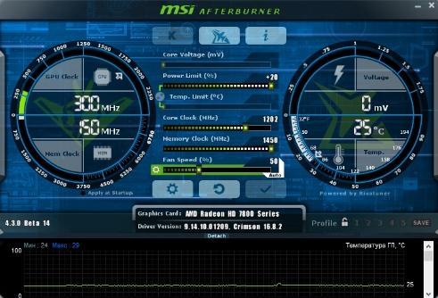 как разогнать видеокарту - скриншот 8 - главное окно msi afterburner