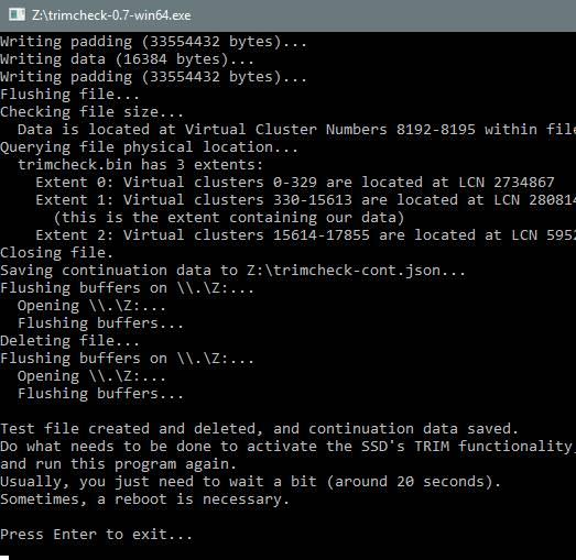 проверка и настройка trim ssd - использование скрипта - скриншот 4
